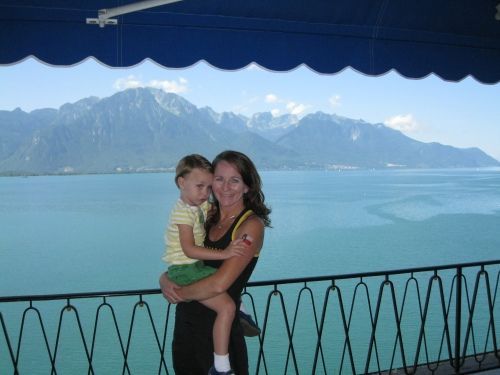 View from our balcony overlooking Lake Geneva